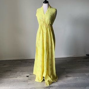 Dresses & Skirts - Vintage 1960 Yellow Floral Handmade Maxi Dress